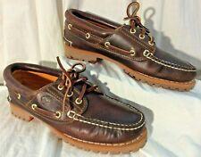 Timberland Classic Womens 7M 3 Eye Moccasin Style Brown Slipon Lug Sole Shoe EUC
