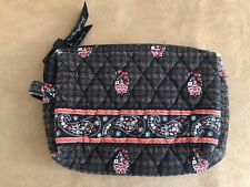 "Vera Bradley Houndstooth Brown small 9"" Cosmetic Makeup Bag paisley floral"