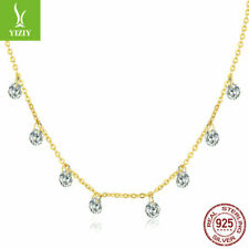 925 Sterling Silver Charm Chain Gold Plated Necklace With Drop Dangle Necklace