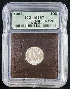 1941-S Mercury Silver Dime 10c Coin ICG MS-67 *Error Holder*