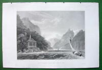 SWITZERLAND Tell's Chapel Lake Uri - 1836 Antique Print Engraving