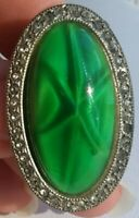 RARE Beautiful Vintage Green Rhinestone Glass Marcasite Oval Brooch Pin