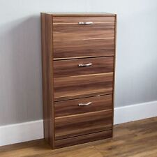 3 Drawer Shoe Cabinet Storage Cupboard Footwear Stand Rack Wooden Unit Walnut