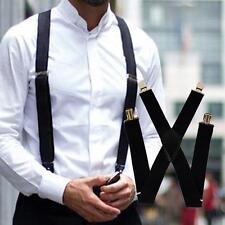 Wide Adjustable Elastic Mens Unisex X-Back Suspenders Clip-On Braces Trouser Hot