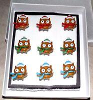 WINTER OWLS Animial Push Pins - Set of 9 Handmade Decorative Thumb Tacks - SALE
