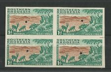 SOUTHERN RHODESIA 1953 RHODES CENTENARY 1d IMPERF PROOF, BLOCK OF 4