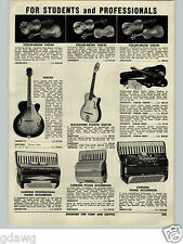 1955 PAPER AD Collin Mezin Vuillaume Model Violin Guarnerius Stradivarius Guitar