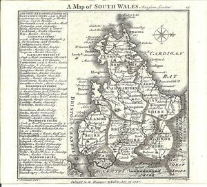 Antique map, South Wales ..
