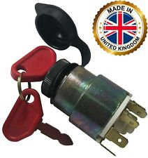 Universal Ignition Starter Barrel Switch 12V Waterproof Cover 4 Pos. & 2 Keys UK