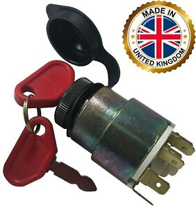 Universal Ignition Starter Barrel Switch 12V Waterproof Cover 4 Pos. & 2 Keys UK