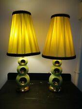 RARE Vintage Art Deco Jadeite Green Ceramic Lamps ~ Possibly Occupied Japan