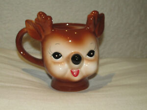 Pottery Barn Cheeky Reindeer Mug~Christmas~Tea~ Coffee~Collector New