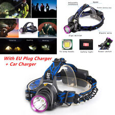 50000LM T6 LED Headlamp Headlight Torch Zoomable Lamp+ EU Charger Set
