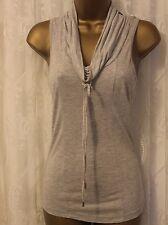 Karen Millen Cowl Neck Jersey Stretch Tie Top Blouse Sport T Shirt Grey 6 34