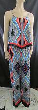 Women's  ~ NEW Direction ~ Geometric Design Halter Top Knit Jumpsuit Size Large