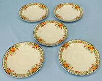 Vintage Art Deco Myott Saucers Berries Leaves and Fence Set of 5