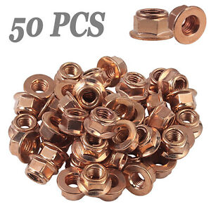 50x M8 Copper Flashed Exhaust Manifold Nut 8 mm Nuts High Temperature Nuts