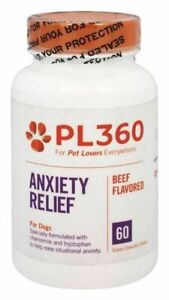 PL360 Anxiety Relief For Dogs stressful situations 60 Chewable Tabs Beef Flavor