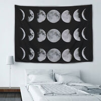 Wall Art Tapestry Art Moon Phase Lunar Display Wall Hanging Art Home Decor Black