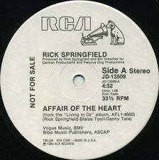 RICK SPRINGFIELD Affair Of The Heart (1983 U.S. White Label Promo 12inch)