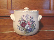 HOME & GARDEN PARTY STONEWARE BEAN POT/COOKIE JAR WITH LID FLORAL DESIGN