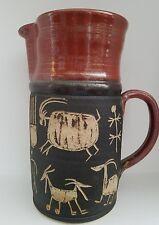 "Large 9.7"" DICK MASTERSON Petroglyph Art Pottery Stoneware Pitcher Santa Fe"