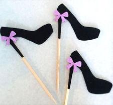 Shoe Cupcake Topper - Black Glitter -  Pack of 10