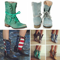 Combat Women Wild Boots Leather Ankle Lace Up Block Short Shoes Motorcycle Boot