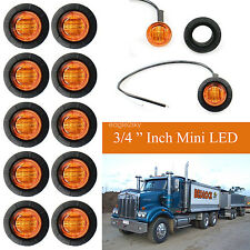 "10X 3/4"" Amber Yellow 12V Round Bullet Side Marker Truck Trailer Mini LED Lights"