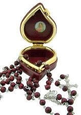 "Rose Scented Prayer Beads 16"" Rosary in Marian Icon Keepsake Case (VS151)"