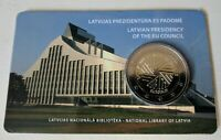 LATVIA LETTLAND 2 EURO 2015 EU RATSPRASIDENTSCHAFT COINCARD UNC