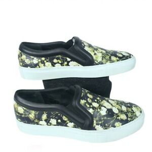 Givenchy Women Size EU37/US7 Black Green Floral Print Slip-On Leather Sneakers