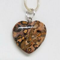 Leopard Skin Jasper Small Heart Necklace, Crystal Heart Pendant Necklace 18""