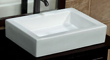 Bathroom Rectangular White Ceramic Vessel Vanity Sink + Free Pop Up Drain 7241