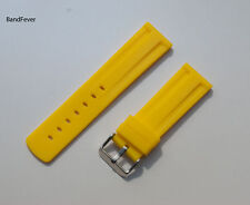18mm Quality Unisex YELLOW RUBBER WATCH BAND,STRAP SOLID BUCKLE Womens Mens