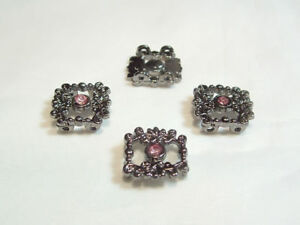 4 x Diamante 2-way Connectors BNDConn22 Pink