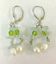 STERLING SILVER DANGLE EARRINGS WITH PEARLS AND  AQUAMARINE & PERIDOT STONES