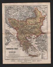 Landkarte map 1864: Europäische TÜRKEI und GRIECHENLAND.