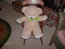 Blonde TEDDY BEAR, White snout, white front & hind paws, green ribbon