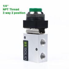 """1/4"""" NPT Green Push Button 3 Way 2 Position Mechanical Pneumatic Valve"""