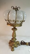 1920's Gilt table lamp with lattice Opalescent shade