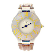 CARTIER MUST DE CARTIER 21 LADIES 2-TONE S.S./GOLD WATCH AS IS FOR PARTS+REPAIRS