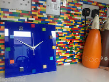 Reloj De Pared HANDMADE monkistuff diseñado Brillo Azul Real, hizo uso de ladrillos Lego ®