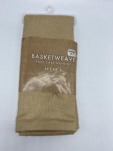 "Basketweave Cloth Napkins Set of 2 Tan Birch Easy Care Napkin 18"" X 18"" New"