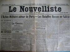 WW1 AUTOUR DE PARIS LETTRE POUR SOLDAT TUé LE NOUVELLISTE DE LYON 7/9/1914