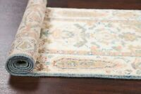Vegetable Dye Muted Ivory Oushak Turkish Runner Rug Hand-Knotted Wool Carpet 2x6