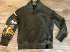 155. Rare RLX Ralph Lauren Mens Embroidered Tiger Army Green Pullover XL Perfect