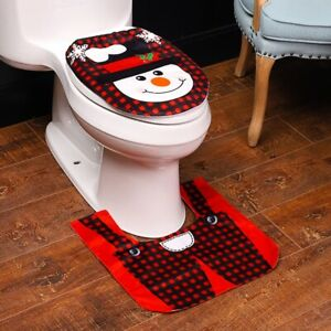 Bathroom Santa Claus Toilet Seat Cover and Rug 2 Piece Set Christmas Decorations