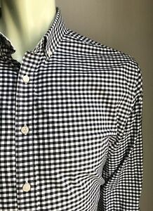 UNTUCkit Shirt, Navy & White Gingham, Large, Slim Fit, Exc Condition