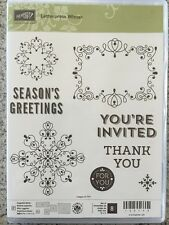 """LETTERPRESS WINTER"" Stampin'UP! NEW~clear/CLING unmounted~set/8~Christmas~tags"